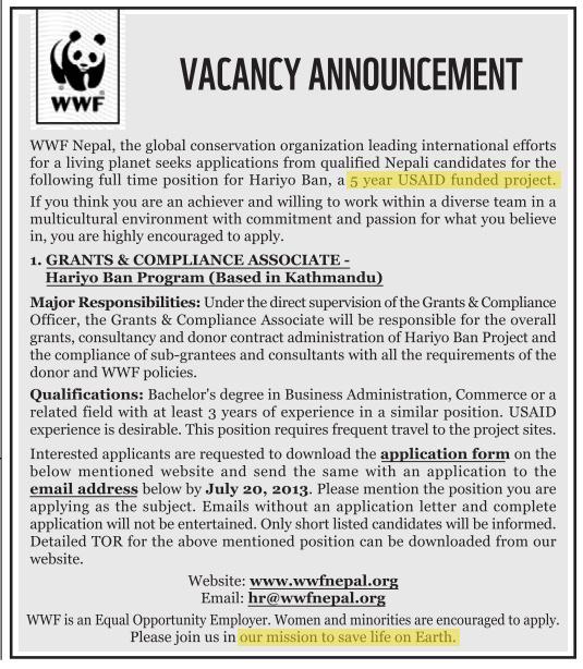 WWF_Nepal_job_posting2